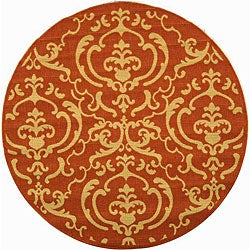 Safavieh Indoor/ Outdoor Bimini Terracotta/ Natural Rug (5'3 Round)