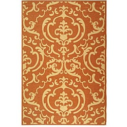Indoor/ Outdoor Bimini Terracotta/ Natural Rug (6'7 x 9'6)