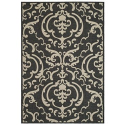 Indoor/ Outdoor Bimini Black/ Sand Rug (2' x 3'7)