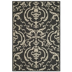 Indoor/ Outdoor Bimini Black/ Sand Rug (2'7 x 5')