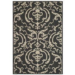 Indoor/ Outdoor Bimini Black/ Sand Rug (4' x 5'7)