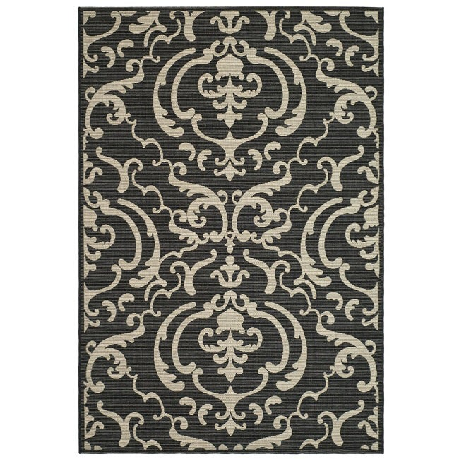 Safavieh Indoor/ Outdoor Bimini Black/ Sand Rug (5'3 x 7'7)