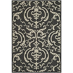 Indoor/ Outdoor Bimini Black/ Sand Rug (6'7 x 9'6)