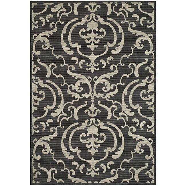 Safavieh Indoor/ Outdoor Bimini Black/ Sand Rug (7'10 x 11')