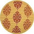 Indoor/ Outdoor St. Martin Natural/ Red Rug (6'7 Round)