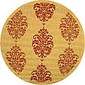 Safavieh Indoor/ Outdoor St. Martin Natural/ Red Rug (6'7 Round)