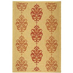 Indoor/ Outdoor St. Martin Natural/ Red Rug (7'10 x 11')