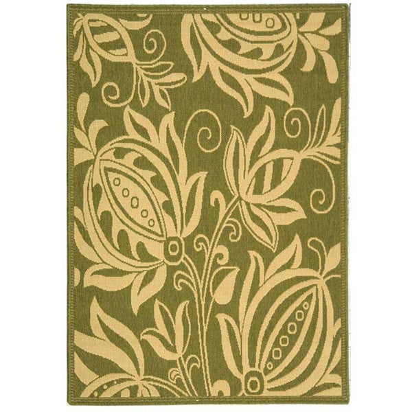 Safavieh Indoor/ Outdoor Andros Olive/ Natural Rug (2'7 x 5')