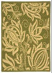 Safavieh Indoor/ Outdoor Andros Olive/ Natural Rug (4' x 5'7)