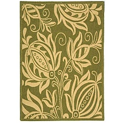 Indoor/ Outdoor Andros Olive/ Natural Rug (4' x 5'7)