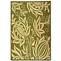 Indoor/ Outdoor Andros Olive/ Natural Rug (5'3 x 7'7)