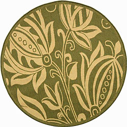Safavieh Indoor/ Outdoor Andros Olive/ Natural Rug (5'3 Round)