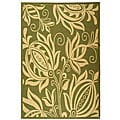 Indoor/ Outdoor Andros Olive/ Natural Rug (6'7 x 9'6)