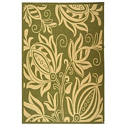 Indoor/ Outdoor Andros Olive/ Natural Rug (7'10' x 11')