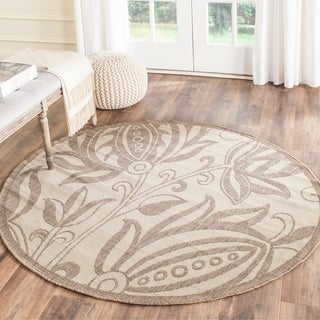 Safavieh Indoor/ Outdoor Andros Natural/ Brown Rug (5'3 Round)