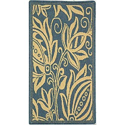 Indoor/ Outdoor Andros Blue/ Natural Rug (2' x 3'7)