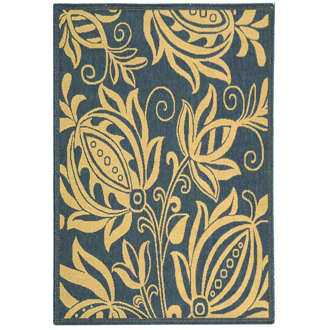 Safavieh Indoor/ Outdoor Andros Blue/ Natural Rug (2'7 x 5')