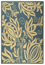 Safavieh Indoor/ Outdoor Andros Blue/ Natural Rug (5'3 x 7'7)