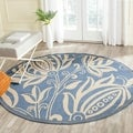 Safavieh Indoor/ Outdoor Andros Blue/ Natural Rug (5'3 Round)