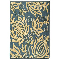 Indoor/ Outdoor Andros Blue/ Natural Rug (7'10 x 11')