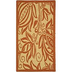 Safavieh Indoor/ Outdoor Andros Natural/ Terracotta Rug (2' x 3'7)