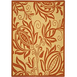 Safavieh Indoor/ Outdoor Andros Natural/ Terracotta Rug (2'7 x 5')