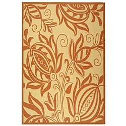 Safavieh Indoor/ Outdoor Andros Natural/ Terracotta Rug (5'3 x 7'7)