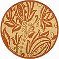 Indoor/ Outdoor Andros Natural/ Terracotta Rug (5'3 Round)