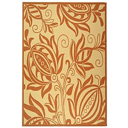 Indoor/ Outdoor Andros Natural/ Terracotta Rug (6'7 x 9'6)