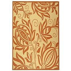 Safavieh Indoor/ Outdoor Andros Natural/ Terracotta Rug (6'7 x 9'6)