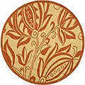 Indoor/ Outdoor Andros Natural/ Terracotta Rug (6'7 Round)