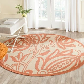 Safavieh Indoor/ Outdoor Andros Natural/ Terracotta Rug (6'7 Round)