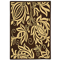 Indoor/ Outdoor Andros Chocolate/ Natural Rug (4' x 5'7)