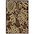 Indoor/ Outdoor Andros Chocolate/ Natural Rug (5'3 x 7'7)