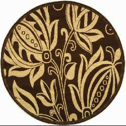 Safavieh Indoor/ Outdoor Andros Chocolate/ Natural Rug (5'3 Round)
