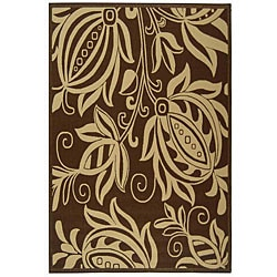 Indoor/ Outdoor Andros Chocolate/ Natural Rug (6'7 x 9'6)