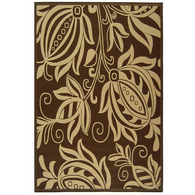 Safavieh Indoor/ Outdoor Andros Chocolate/ Natural Rug (7'10 x 11')