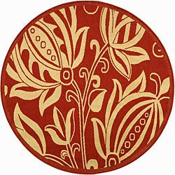 Indoor/ Outdoor Andros Red/ Natural Rug (5'3 Round)