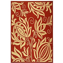 Indoor/ Outdoor Andros Red/ Natural Rug (6'7 x 9'6)