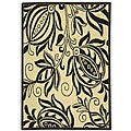 Indoor/ Outdoor Andros Sand/ Black Rug (2'7 x 5')