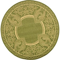 Safavieh Indoor/ Outdoor Abaco Olive/ Natural Rug (5'3 Round)