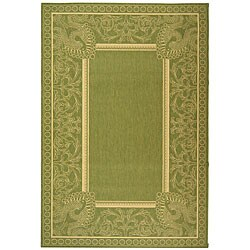 Indoor/ Outdoor Abaco Olive/ Natural Rug (6'7 x 9'6)