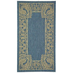 Indoor/ Outdoor Abaco Blue/ Natural Rug (2' x 3'7)