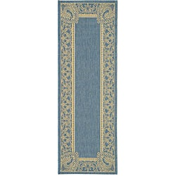 Indoor/ Outdoor Abaco Blue/ Natural Runner (2'4 x 6'7)