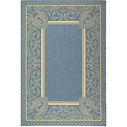 Indoor/ Outdoor Abaco Blue/ Natural Rug (5'3 x 7'7)