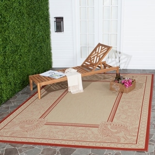 Safavieh Indoor/ Outdoor Abaco Natural/ Red Rug (5'3 x 7'7)