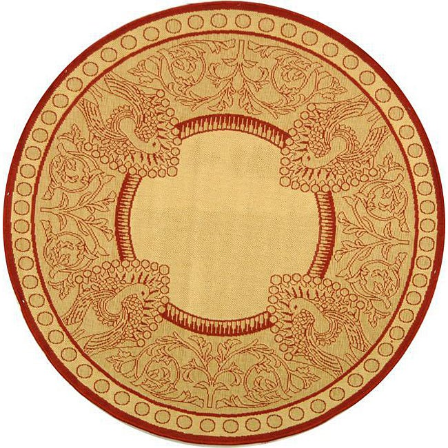 Safavieh Indoor/ Outdoor Abaco Natural/ Red Rug (6'7 Round)