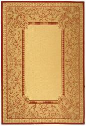 Safavieh Indoor/ Outdoor Abaco Natural/ Red Rug (7'10 x 11')