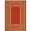 Indoor/ Outdoor Abaco Red/ Natural Rug (4' x 5'7)