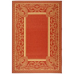 Indoor/ Outdoor Abaco Red/ Natural Rug (6'7 x 9'6)